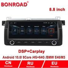 Kit multimídia automotivo com android 9.0, para bmw e46 320i 325i 323i 330i 8.8, navegação gps, com suporte dsp carplay
