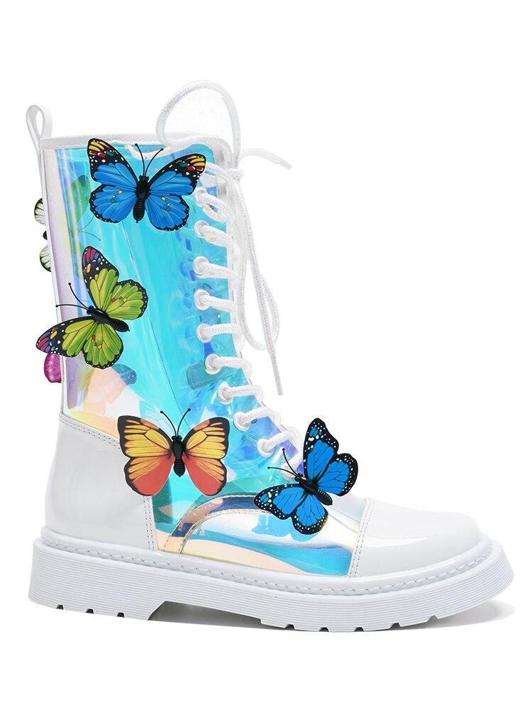 2020 Новое поступление ботинок прозрачные Красочные бабочки плоские короткие ботинки с круглым носком на рифленой подошве на шнуровке Новая ... - 5