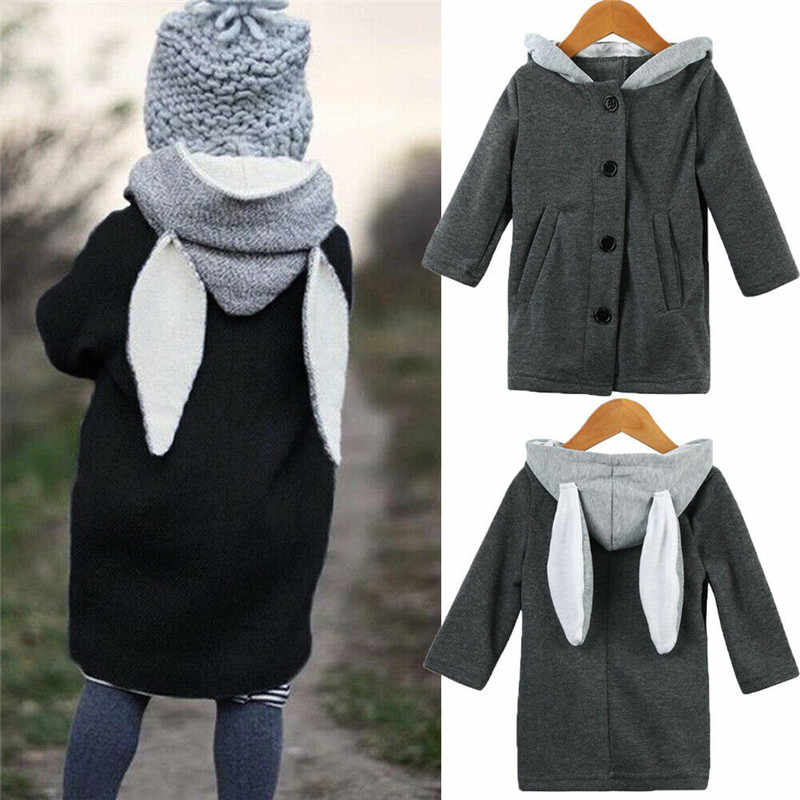 Cute Baby Kids Infant Autumn Winter Hooded Coat Rabbit Jacket Thick Warm Clothes