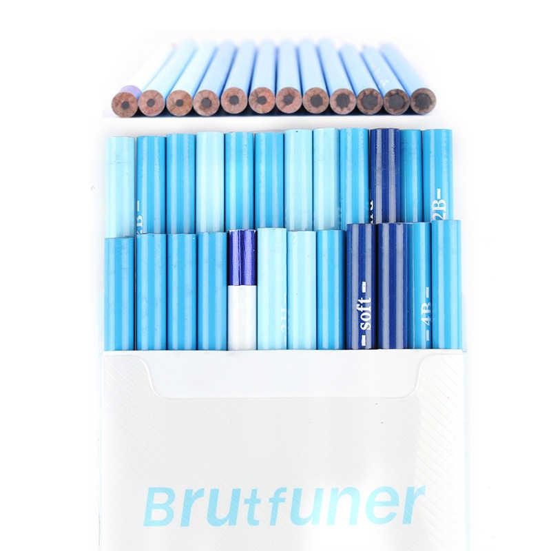 Brutfuner 24Pcs 6H to14B นุ่ม Sketching ดินสอ Hard Medium Soft ถ่านดินสอวาดชุดดินสอโรงเรียนดินสอมาตรฐาน