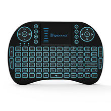 I8 mini teclado 7 cor backlit mouse ar 2.4ghz sem fio inglês russo espanhol multi idioma mini teclado de controle remoto
