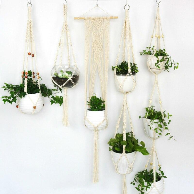 5 個セットプランターハンギング手織り植木鉢バスケット網袋マクラメ壁掛けバルコニー装飾バスケット植物ホルダー -