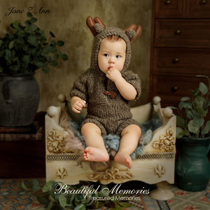 Image 2 - Jane Z Ann 3 6 month baby photo costume  infant handmade knitted bear bunny clothes Oil painting series theme studio accessories
