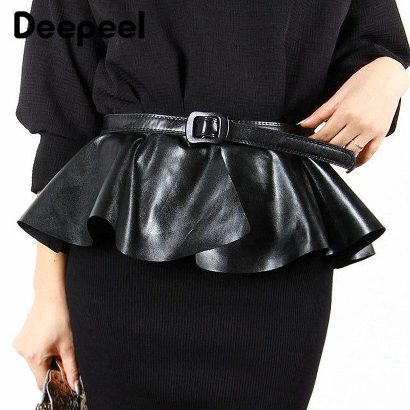 Deepeel1pc 2.4cm*101cm Ruffled Black Leather Skirt  Cummerbunds Ladies Skirt Decoration Super Wide Skirt Waist Cummerbunds YK641