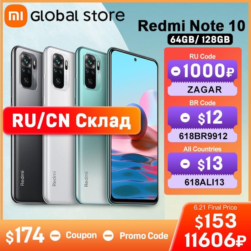 Global Version Xiaomi Redmi Note 10 4GB 64GB/4GB 128GB telephone Snapdragon 678 AMOLED Display 48MP Quad Camera 33W