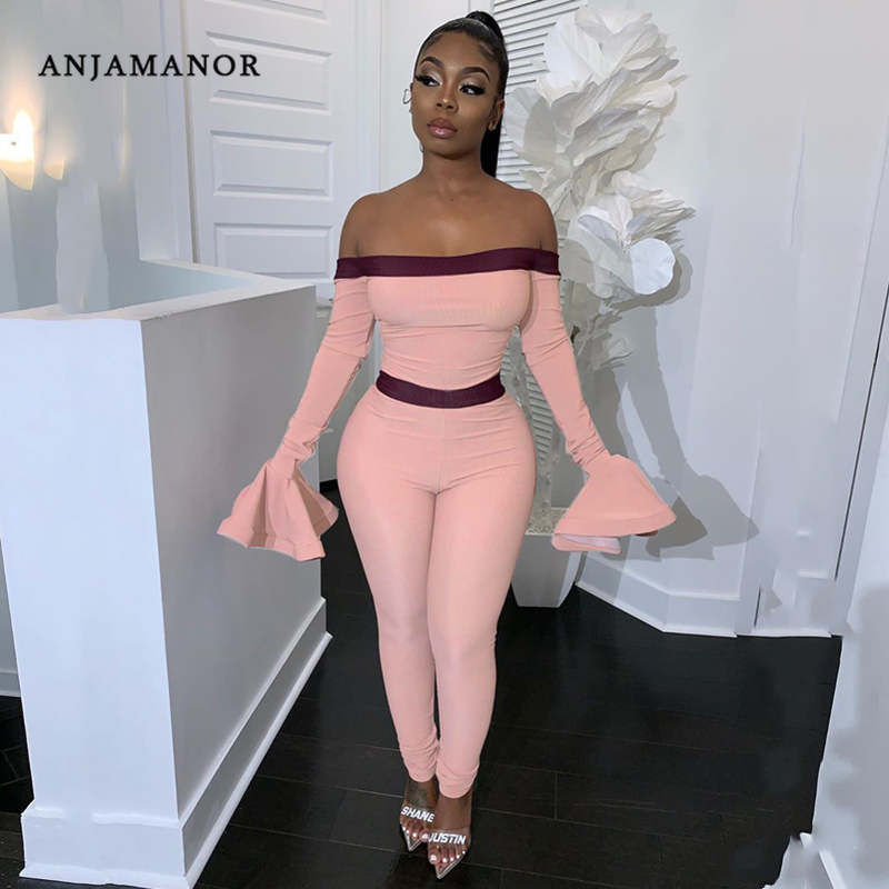 ANJAMANOR Sexy Jumpsuit Clubwear Women Clothes Going Out Off Shoulder Long Sleeve Bodycon Fitted Romper Spring 2020 D24-AE50