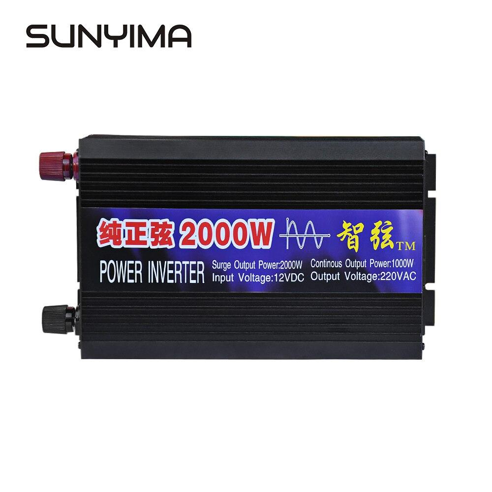 SUNYIMA czysta fala sinusoidalna samochodowa przetwornica napięcia 2000W 12 V/24 V/48 V do 220V wzmacniacz konwersji mocy