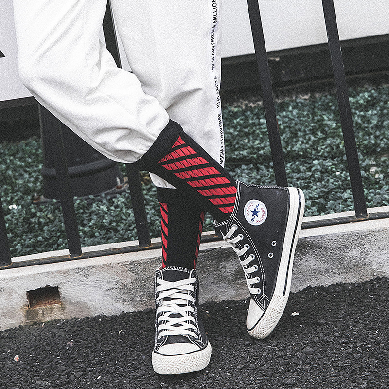 Trendy Harajuku Men Socks Hipster Cross Pattern Off Online Pop Streetwear Pride Mark Socks Off White Yellow Unisex Tmall 4 Color