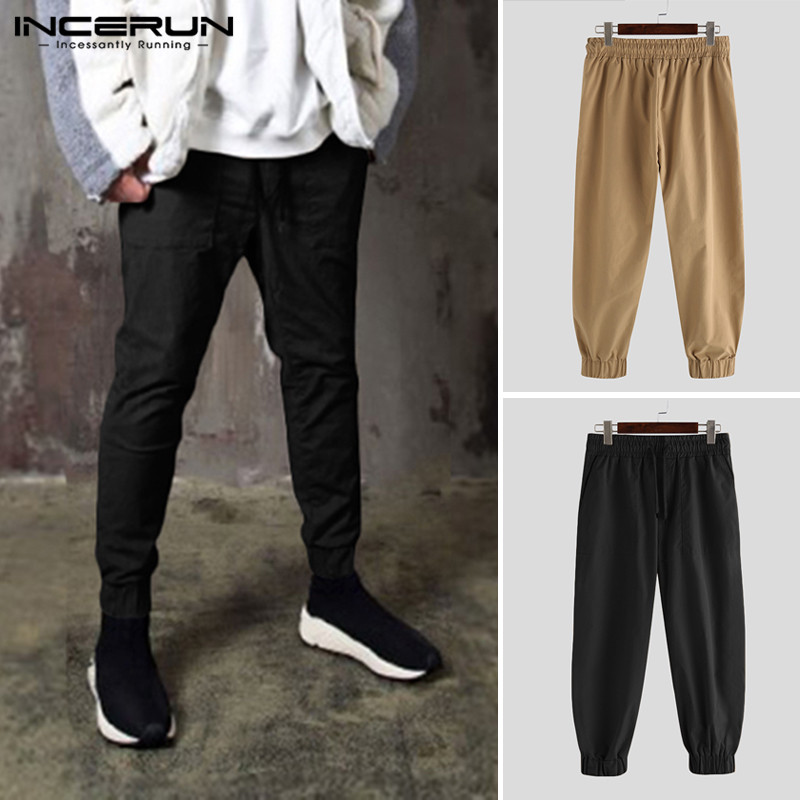 INCERUN Men Casual Pants Elastic Waist Pockets Solid Color Fashion Trousers Joggers Chic Comfy Leisure Long Pants Plus Size 5XL