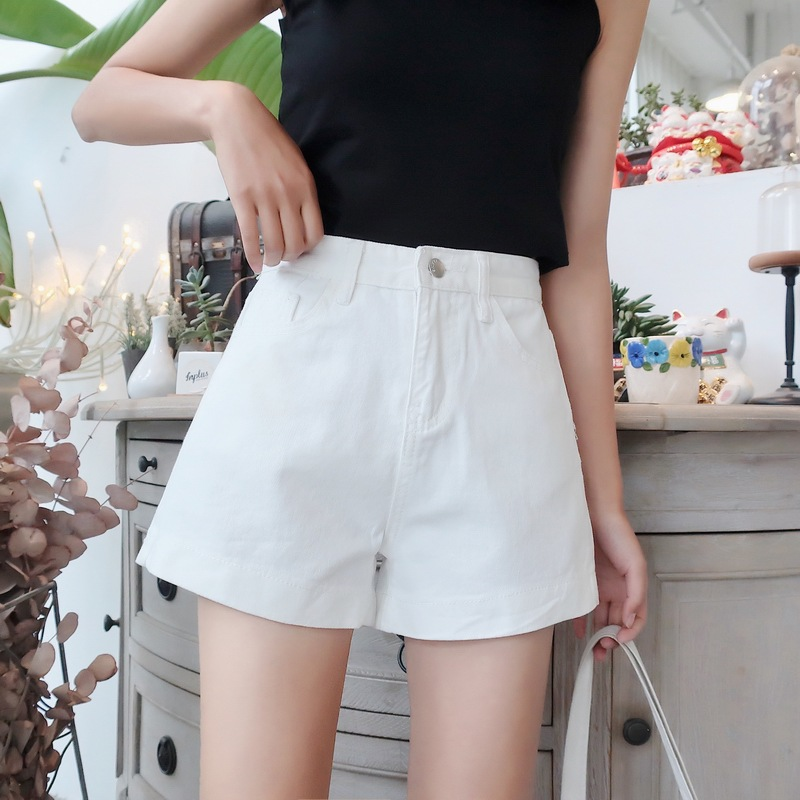 2018 Summer New Style Simple Classic Style High-waisted Revers Denim Shorts Women's Loose-Fit Wide-Leg Shorts Three-color