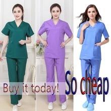 Womens Fashion Scrub Set Nursing Scrubs V-neck Top with Side Vent & Elastic Waistline Pants Medical Uniforms Cotton Surgery