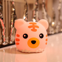 Touch Sensor Colorful LED Tiger Night Light USB Rechargeable Bedroom Cartoon Silicone Animal Lamp for Children Kids Baby Gift цена