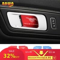 HANGUP en acier inoxydable voiture intérieur porte poignée bol décoration couverture autocollant pour Ford Mustang 2015 Up voiture style