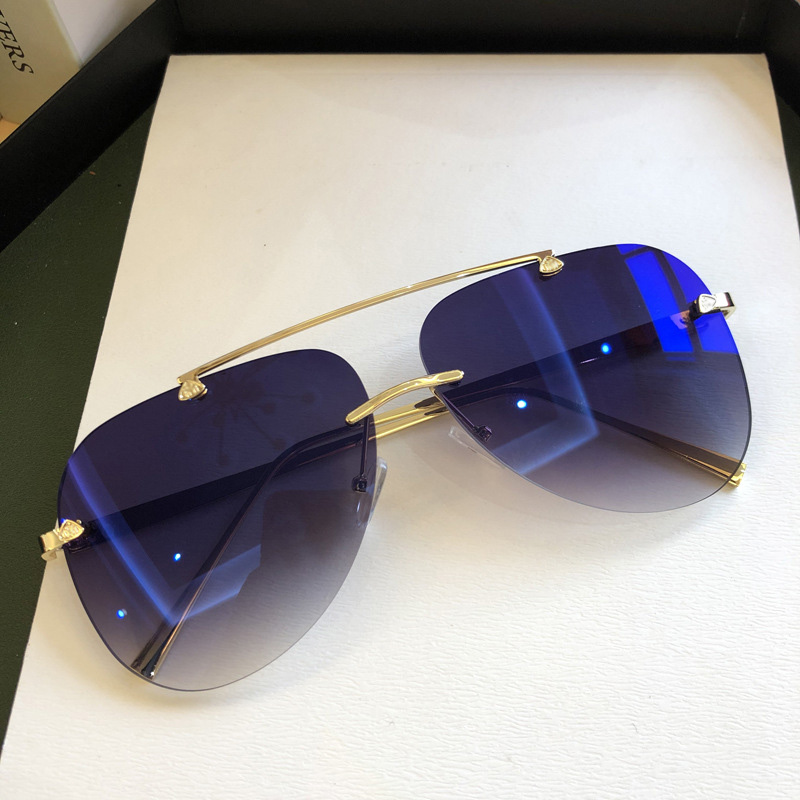 MIZHO Original Metal Frames Pilot Gradient Sunglasses Women Blue High Quality UV400 Real Color Men Korea Eyewear Driving