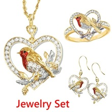 Berbeny Lovely Animal Bird Sparrow Heart-shaped Necklaces Set Women Pendants Alloy Crystal Gold Color Clavicle Ring and Earrings cheap Zinc Alloy Coral TRENDY Necklace Earrings Ring Fashion HD0063 Jewelry Sets Engagement 1 set jewlery necklace and ring 2020 new