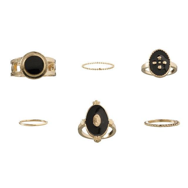 DIEZI 6 pièces/ensemble bohème Vintage mode noir métal chaîne Knuckle Joint anneaux ensemble pour les femmes Boho plage or bagues bijoux