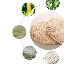 Hot Natural Straw Round Pouf Tatami Cushion Weave Handmade Pillow Floor Japanese Style with Silk Wadding