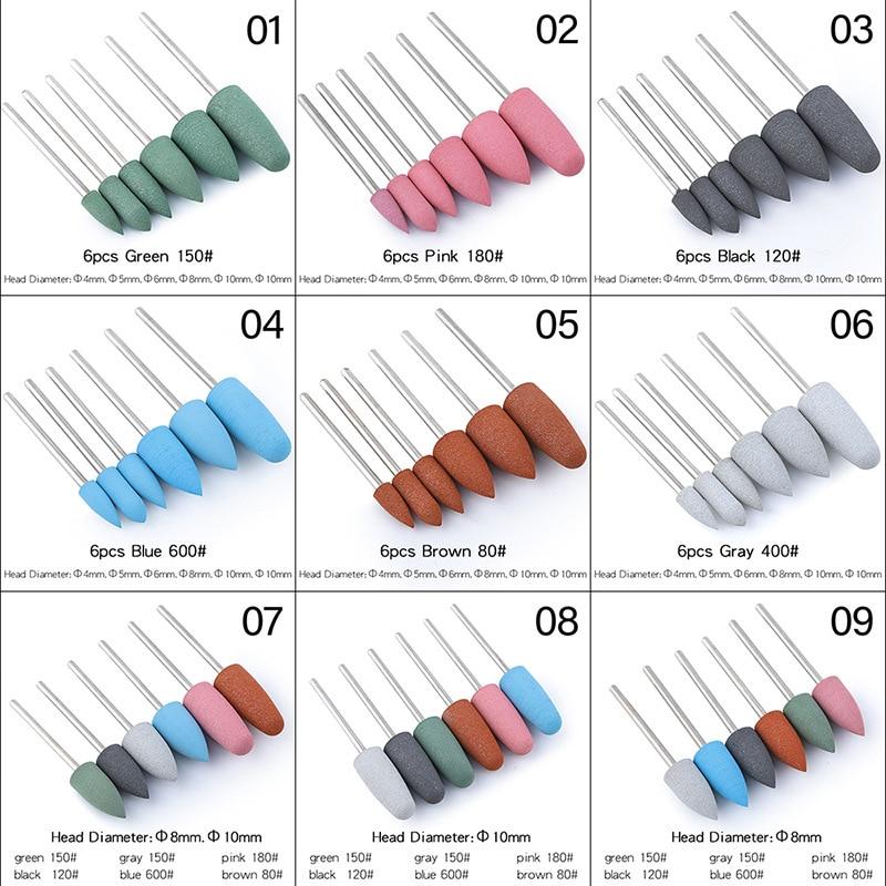 Купить 6 шт/компл фрезы для дизайна ногтей розовые синие черные серые