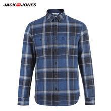 JackJones 男性の綿 100% スリム長袖格子縞のシャツ 218405511