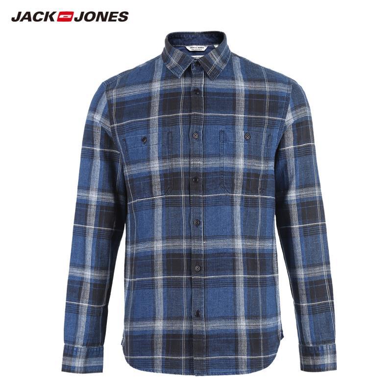 JackJones Men's 100% Cotton Long-sleeved Plaid Shirt 218405511