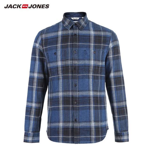 Jackjones Mannen 100% Katoen Slanke Lange Mouwen Geruite Overhemd 218405511