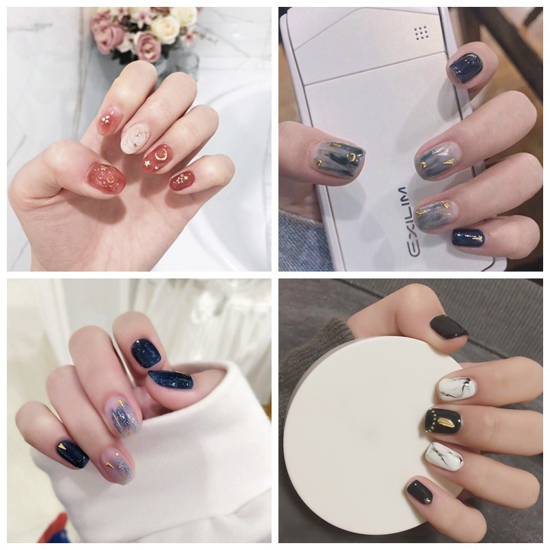 4036 New Style Moon And Stars Nail Stickers Cute Indie Nail Sticker 3D Metal Gradient Nail Sticker