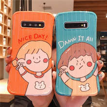 Fashion Cute Girl Boy Luggage Soft Case For Samsung Galaxy S8 S9 S10 Plus Cover Note 8 9 10 Pro Phone cases coque