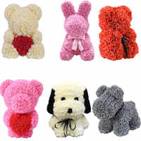 40CM Rose Bear Rose Flower Artificial Bear of Roses Rabit Decoration DIY Christmas New Year Gifts for Women Valentines Gift Box