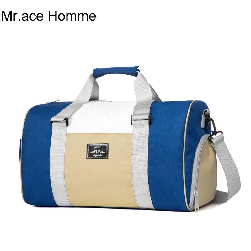 Blue Multifunction Women Travel Shoulder Bag for Girl Large Luggage Sport Handbag Male Waterproof Travel Duffel Bag Shoes Pocket
