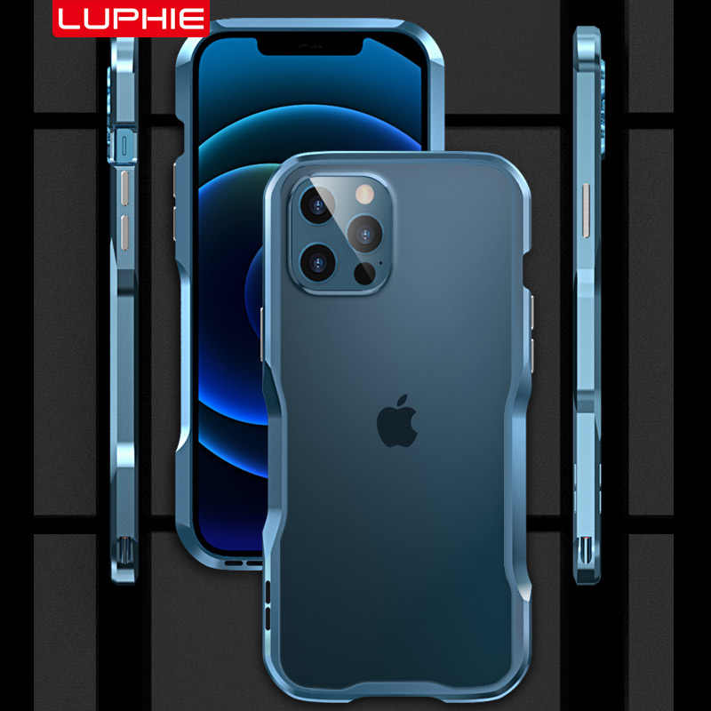 Luphie Metal Bumper Voor Iphone 12 11 Pro Max Se 2020 Case IPhone12 Mini Luxe Shockproof Armor Onregelmatig Aluminium Cover