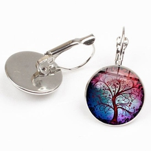 2019 new retro life tree pendant earrings fashion colorful mandala art pattern glass round woman jewelry gift