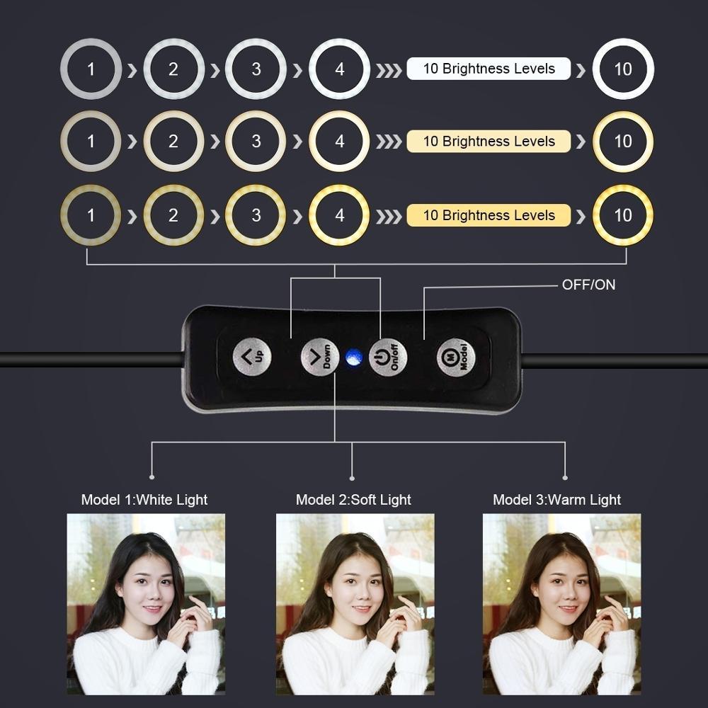 1.1m Tripod +360 Degree Rotation Phone Clip Holder Bracket + 26cm Ring Light for Makeup Vlog Youtube Video Tiktok live stream