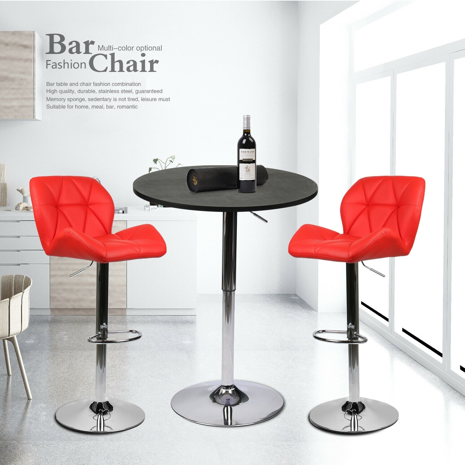 3 PCS  Counter Height Dining Set Round Bar Table 2 Stools Kitchen Pub Furniture