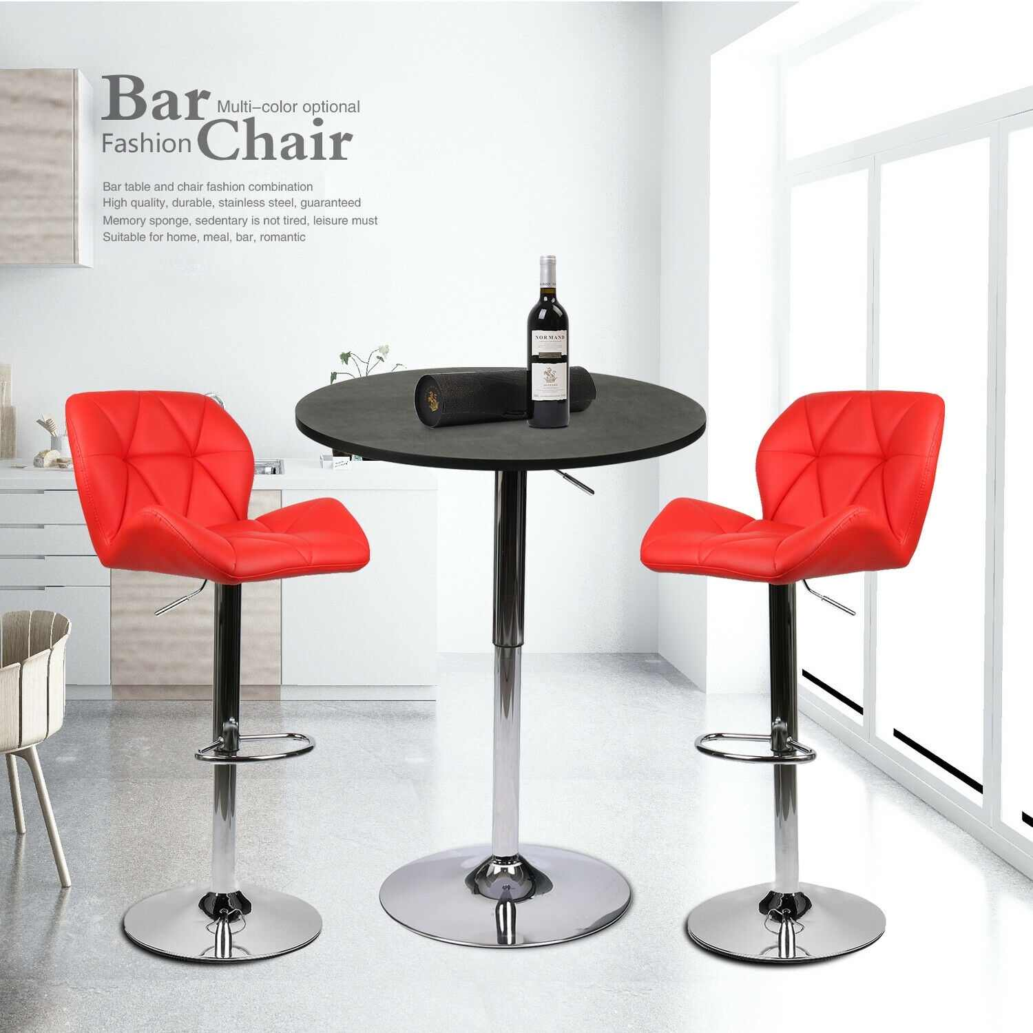 3 Pcs Counter Height Dining Set Round Bar Table 2 Stools Kitchen Pub Furniture Aliexpress