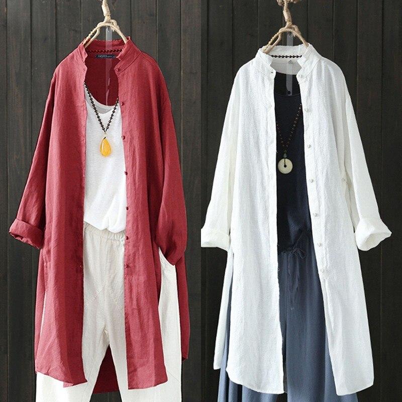 Women's Linen Blouse 2020 ZANZEA Kaftan Long Sleeve Shirts Button Down Long Blusas Split Cardigan Lapel Tops Plus Size Tunic 5XL