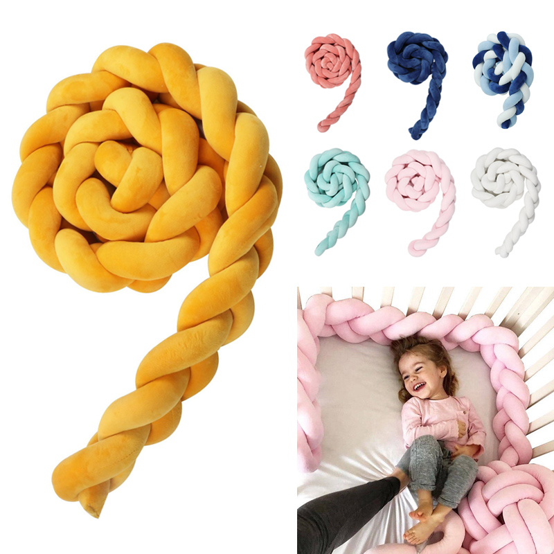 1M 2M Baby Newborn Bed Bumper Long Knot Braid Pillow Baby Handmade Nodic Knot Baby Bed Bumper Knot Crib Infant Room Decor