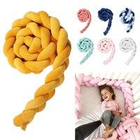 1M 2M Baby Newborn Bed Bumper Long Knot Braid Pillow Baby Handmade Nodic Knot Baby Bed Bumper Knot Crib Infant Room Decor