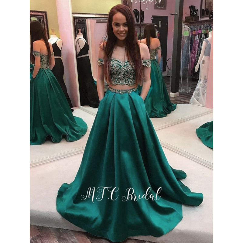Dark Green 2 Piece   Prom     Dresses   2019 New Arrival Gold Lace A Line Pockets Long Evening Gowns Custom Made Wedding Party   Dress