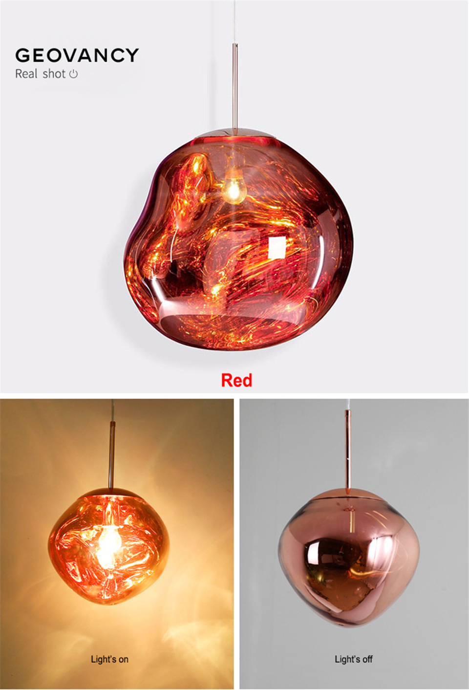 GEOVANCY Lava Pendant Lights - Red
