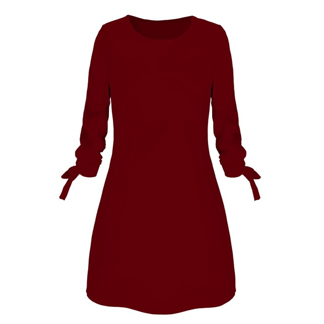 Spring New Fashion Solid Color Dress Casual O-Neck Loose Dresses 3/4 Sleeve Bow Elegant Beach Female Vestidos Plus Size 4