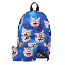 2Pcs Women Backpack 3D Cute Cat Printing Backpack Waterproof Nylon Backpacks for Teenage Girls Travel School Bag Bolsa Mochila mallrat women unicorn backpack 3d printing travel softback bag mochila school cat backpack notebook for girls backpacks