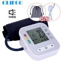 OLIECO USB דיגיטלי אוטומטי חשמלי מד לחץ דם LCD לחץ דם צג PR Tonometer אנגלית קול 3 תאורה אחורית מסך