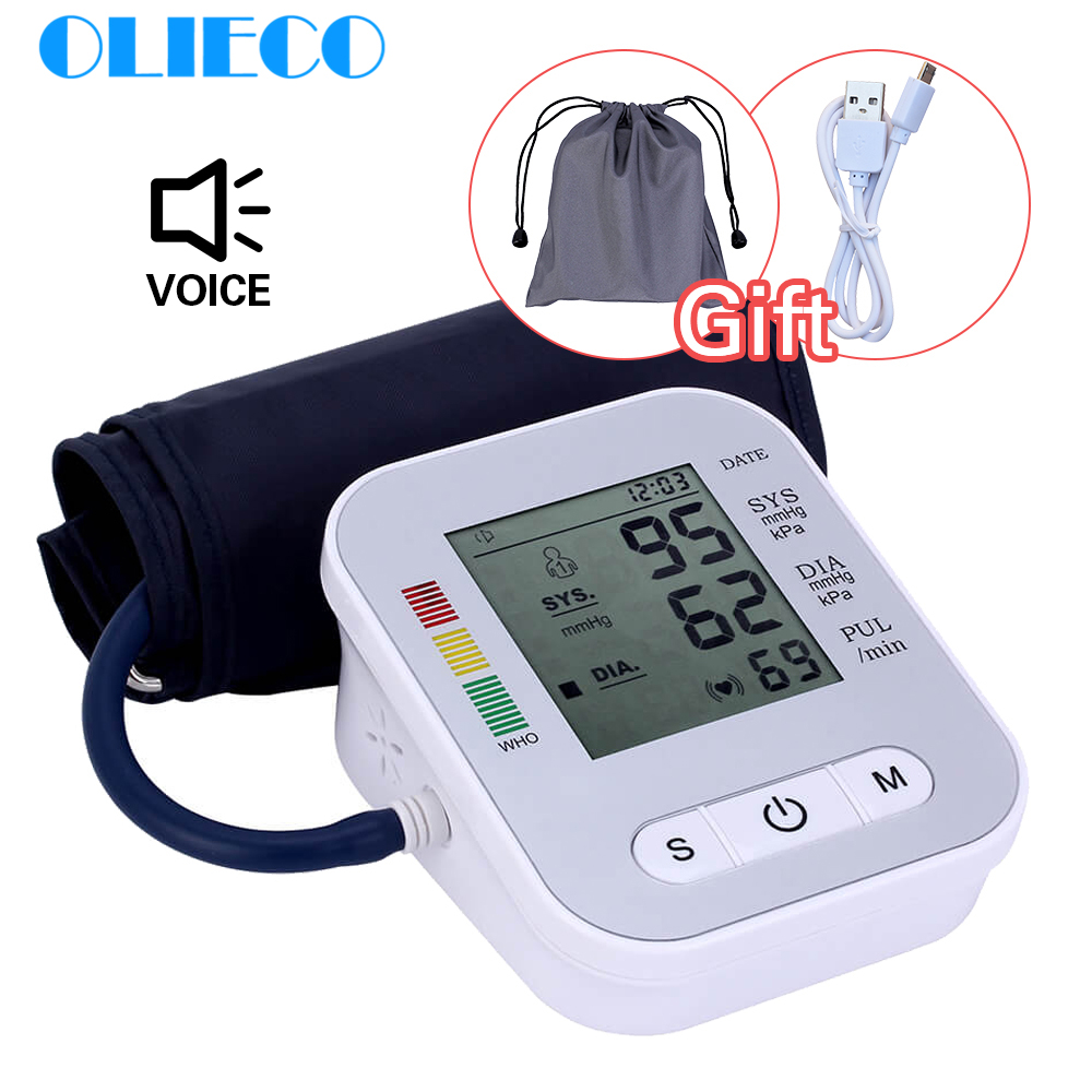 OLIECO USB Rechargeable Blood Pressure Monitor English Voice Automatic Electric Heart BeatTonometer Digital LCD Sphygmomanometer