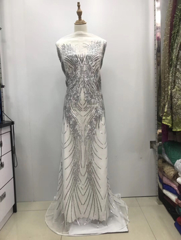 French Lace Fabric African Sequins Lace Fabric 2020 High Quality Lace Embroidered Net Fabric for Nigerian Wedding Dress LJL9709A