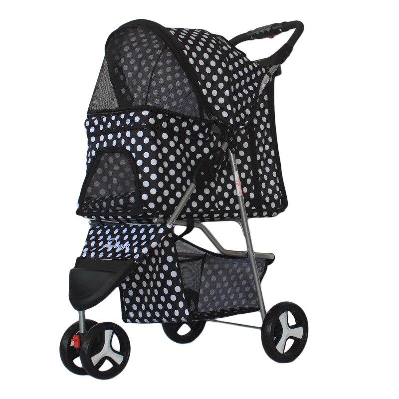 Portátil fordable pet carrinho de criança cão gato teddy strollercart leve veículo para animais de estimação ao ar livre carrinho de cão gato portador