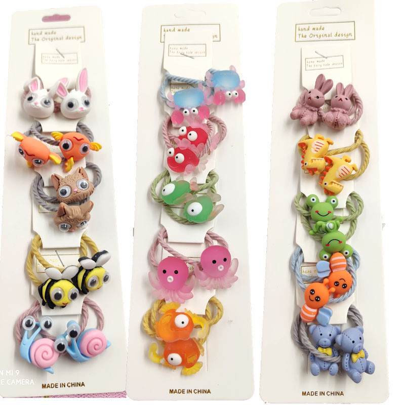 10PCS/LOT Lovely Animals Hairball Star Elastic Hair Bands For Girls Handmade With Card Scrunchy Kids Hair Accessories For Women