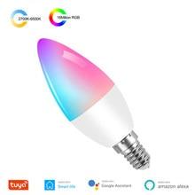 Bombilla inteligente Tuya E14 WiFi LED RGB + W + C vela regulable bombilla de Control remoto funciona con Alexa Echo Google Home