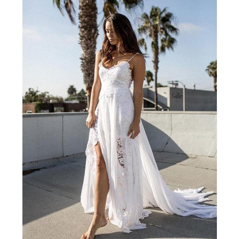 Beach Wedding Dresses 2019 Lace And Chiffon Split Sexy V-Neck Backless Bridal Bride Gown Spaghetti Vestido De Novia Robe Mariage