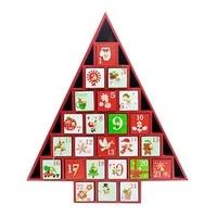 Christmas Decor Christmas Decorative Desktop Gift Ornament Toy Table Wooden Calendar 24 Drawers Countdown Tree Shape Storage Box