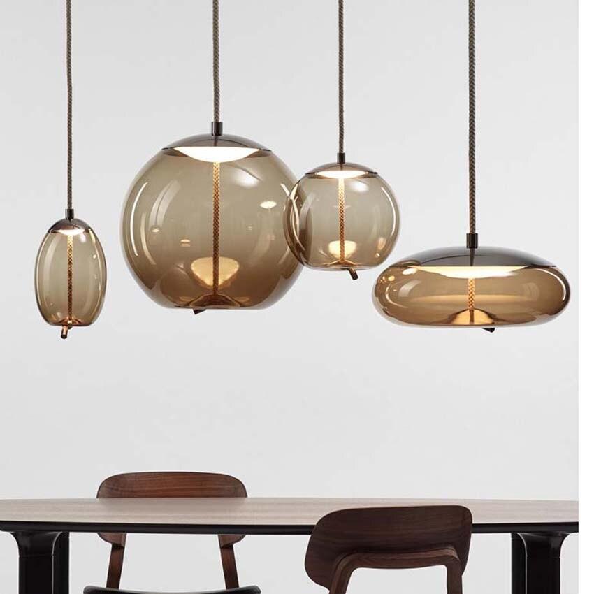 Suspension en verre scandinave abat-jour en verre teinté nordique lampe à suspendre créative pour Restaurant Bar cuisine salon déco